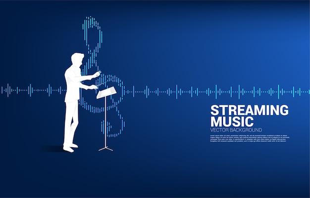 Maestro musical com onda equalizadora como nota musical.