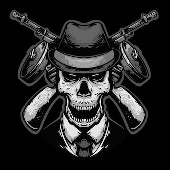 Máfia de cabeça de caveira com mascote de design de logotipo de arma