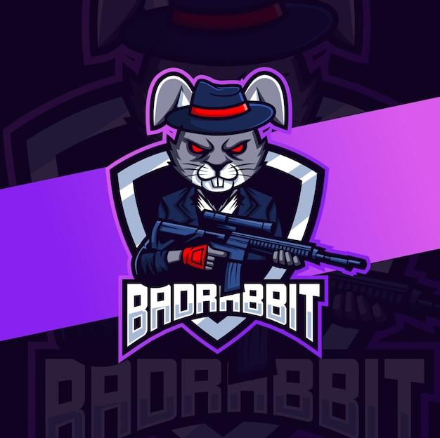 Máfia de coelho mau com logotipo esport de mascote de arma