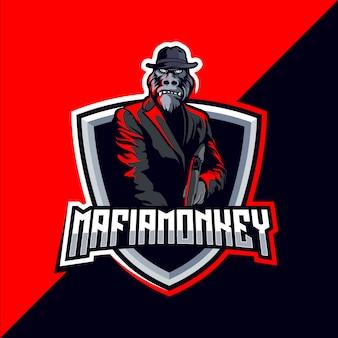 Mafia gorilla esport gaming mascote logotipo