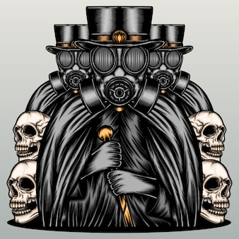 Máfia negra usando máscara de gás.