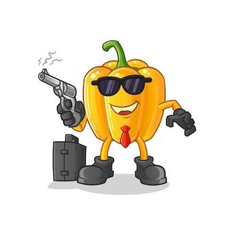 Mafia páprica com personagem de desenho animado