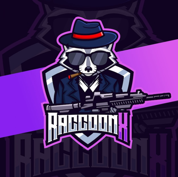 Máfia roccoon com logotipo esport mascote de arma