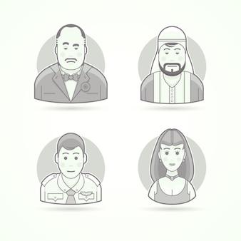 Mafioso italiano, sheik árabe, segundo piloto, modelo de mulher bonita. conjunto de ilustrações de personagem, avatar e pessoa. estilo descrito preto e branco.