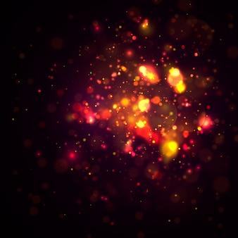 Magia . o bokeh luxuoso circular dourado defocused abstrato do ouro do brilho ilumina o fundo.