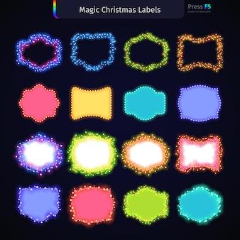 Magic christmas labels set