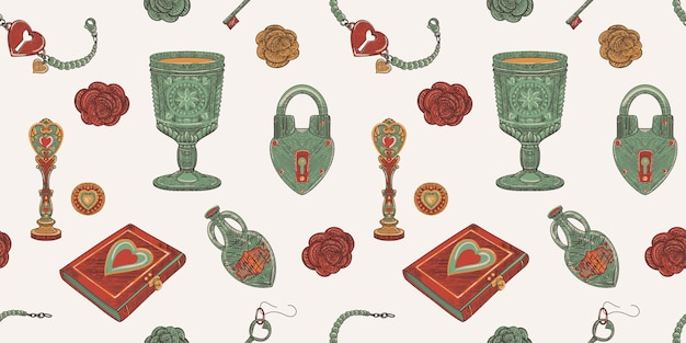 Magic of love seamless pattern of vintage old school object