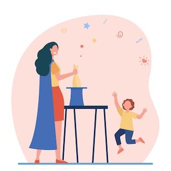 Mágica feminina se apresentando antes da criança