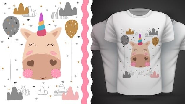 Mágica, unicórnio - ideia para imprimir t-shirt