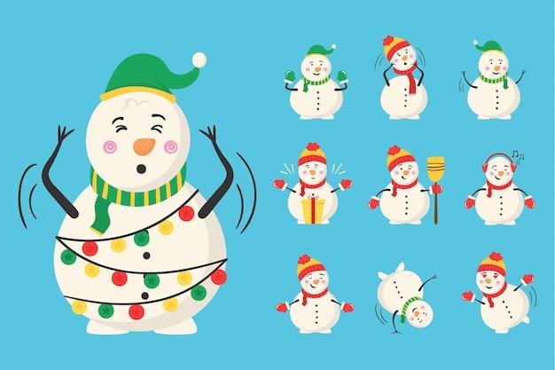 Mágico boneco de neve com doces e presentes, atividade ao ar livre de inverno para crianças, inverno e natal