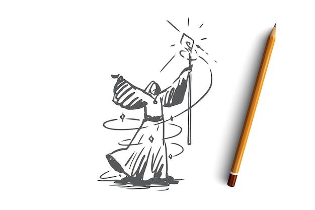 Mágico desenhado à mão evoca esboço de conceito