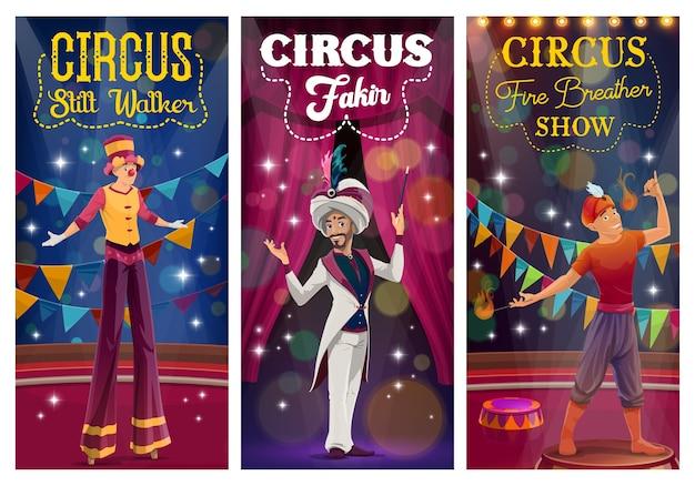 Mágico dos desenhos animados de circo, andador de pernas de pau e respirador de fogo realizando truques na grande arena