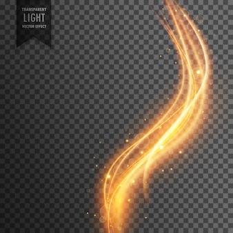 Mágico efeito de luz transparente no estilo de onda e brilhos dourados