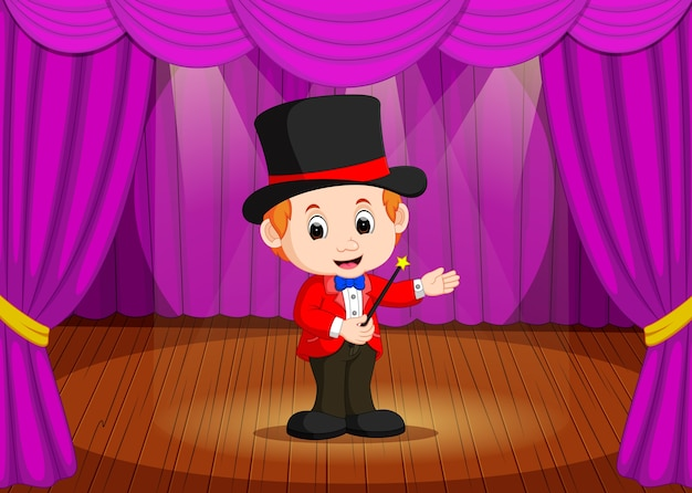Mágico, realizando em um palco
