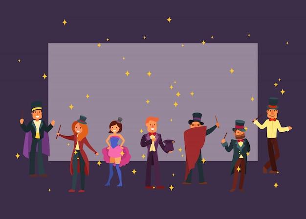 Mágicos no teatro ou circo ilustração em vetor personagem dos desenhos animados. bruxo mágico e feiticeiro de ortografia mágica, bruxaria masculina e feminina em chapéus e manto.