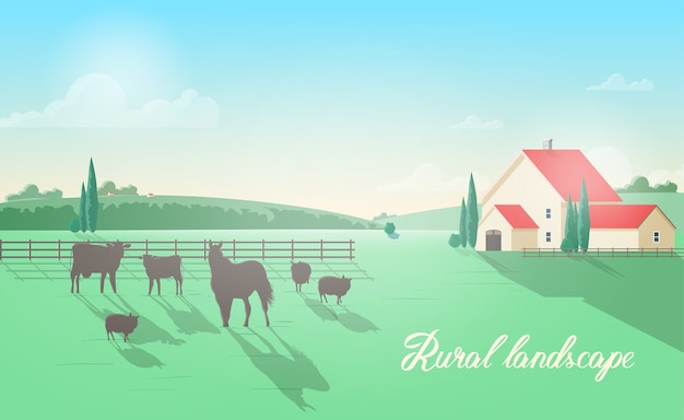 Magnífica paisagem rural com animais domésticos pastando em um prado contra uma cerca de madeira, construção de fazenda, colinas verdes