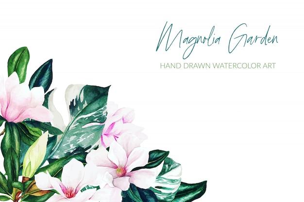 Magnólia aquarela folhas e flores, cores brilhantes