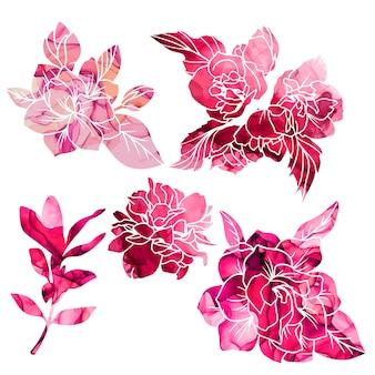 Magnólia com textura vermelha e rosa e flores de jasmim