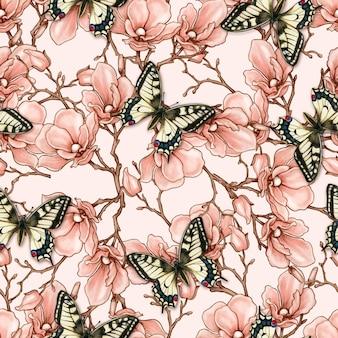 Magnólia vintage romântico e padrão sem emenda de borboletas