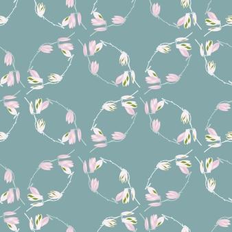 Magnólias padrão sem emenda em fundo azul pastel. belo ornamento com flores da primavera. molde floral geométrico para tecido. ilustração em vetor design.