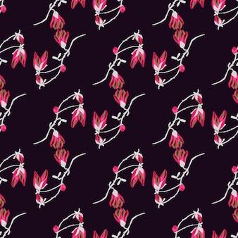 Magnólias padrão sem emenda em fundo escuro. belo ornamento com flores vermelhas. molde floral geométrico para tecido. ilustração em vetor design.