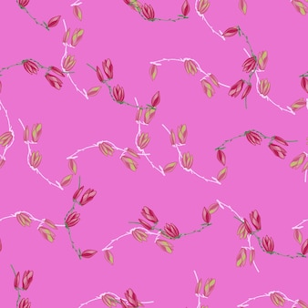 Magnólias padrão sem emenda em fundo rosa brilhante. textura bonita com flores da primavera.