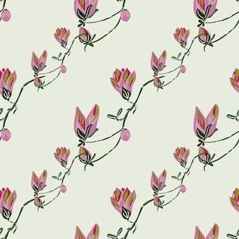 Magnólias padrão sem emenda sobre fundo verde claro. belo ornamento com flores da primavera.