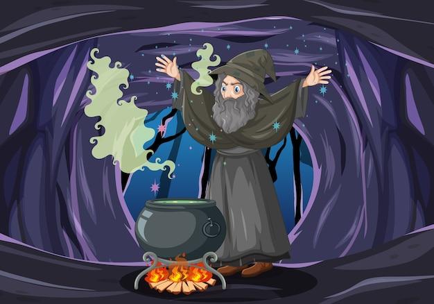 Mago ou bruxa com um pote mágico no fundo escuro da caverna