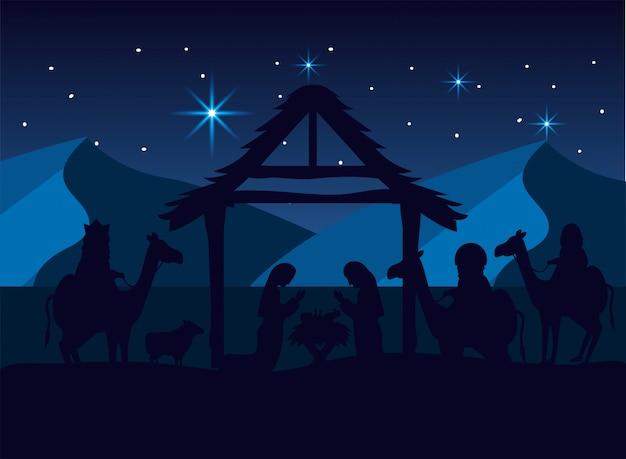 Magos reis com maria e josé com jesus