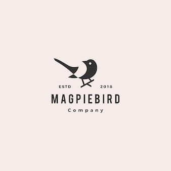 Magpie bird logo hipster retro