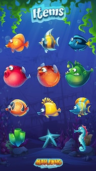 Mahjong fish world conjunto de desenhos animados engraçados peixes no fundo do mundo subaquático