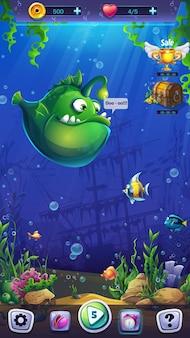 Mahjong fish world illustration formato móvel campo de jogo para o jogo de computador