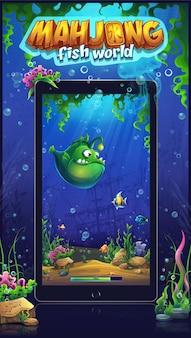 Mahjong fish world mobile formato ilustração marinha para tablets e smartphones