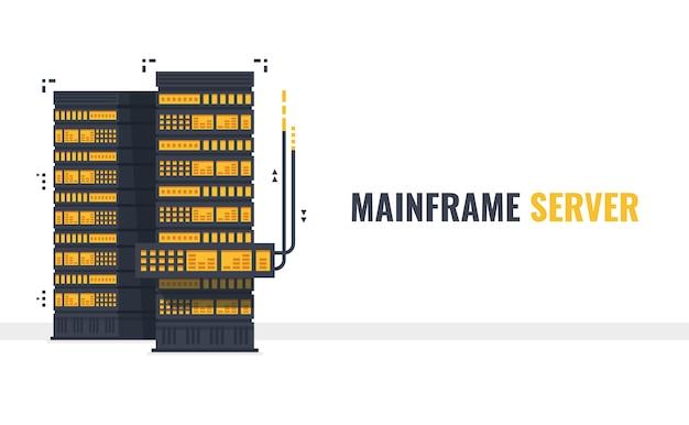 Mainframe, rack de servidor aberto com cabo de dados, sala de servidores