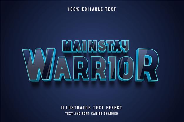 Mainstay warrior, 3d texto editável efeito de gradação de preto azul estilo moderno