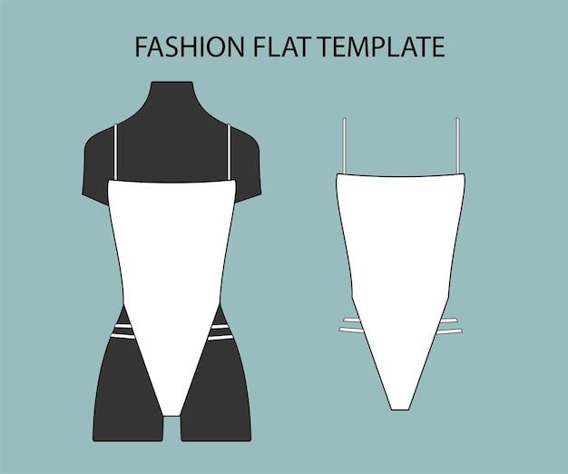 Maiô moda esboço plano modelo biquíni isolado