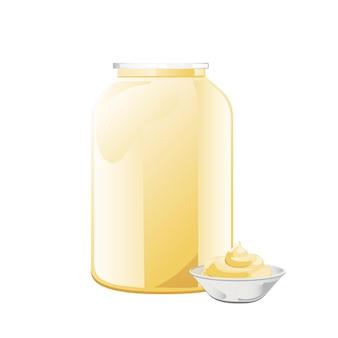 Maionese em frasco de vidro com tigela de cerâmica. frasco com molho branco. recipiente de condimento em estilo cartoon. ilustração vetorial.