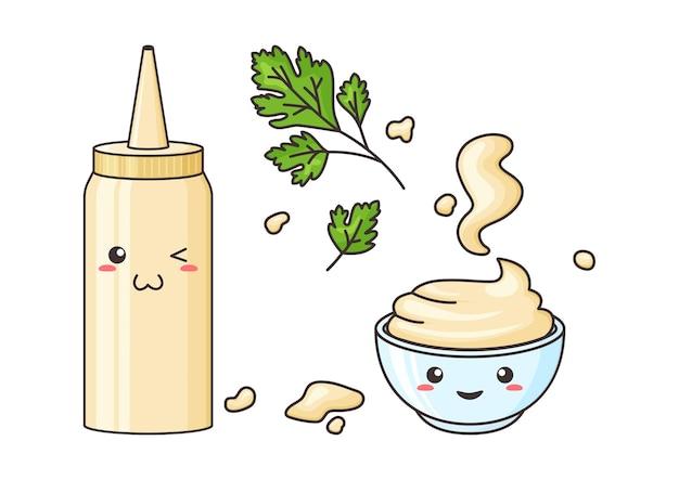 Maionese kawaii personagem engraçado garrafa e tigela ilustração de folhas de molho e salsa