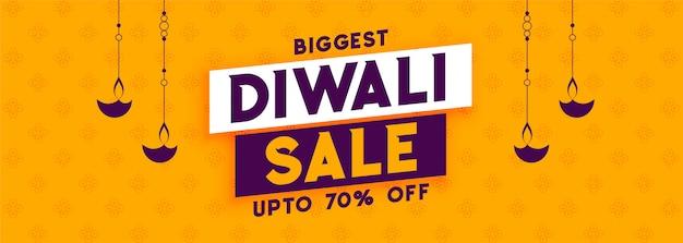Maior banner de promoção de venda de diwali amarelo