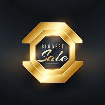 Maior venda de prêmio emblema de ouro e design vector rótulo