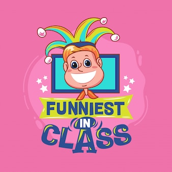 Mais engraçado na frase da classe com ilustração colorida. de volta às citações da escola
