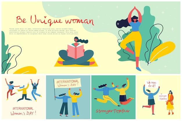 Mais fortes juntos. conceito feminino e design de empoderamento da mulher. conjunto de banner