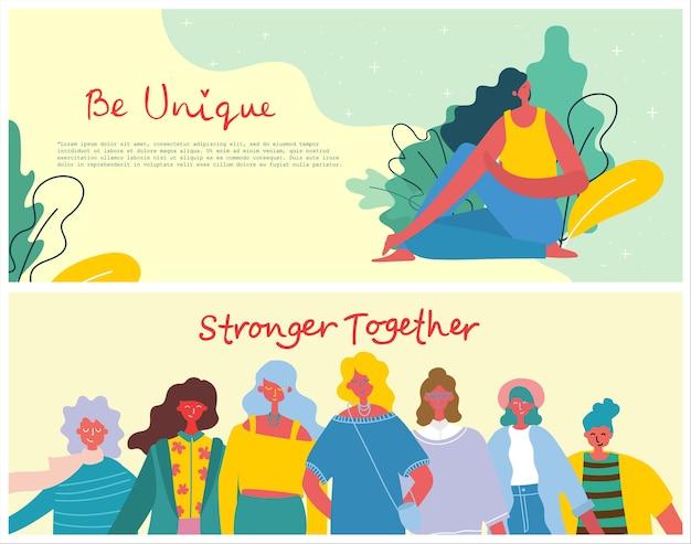 Mais fortes juntos. conceito feminino e design de empoderamento da mulher