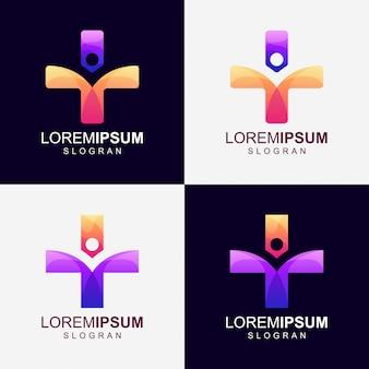 Mais logotipo de cor gradiente de pessoas