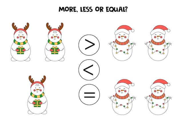 Mais, menos, igual a bonecos de neve bonitos dos desenhos animados. comparação matemática.