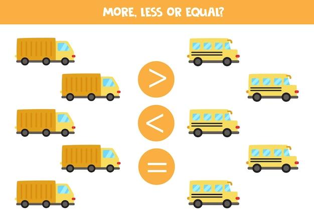 Mais, menos, igual a caminhão e ônibus escolar. jogo de matemática.
