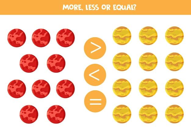 Mais, menos, igual aos planetas dos desenhos animados marte e vênus. jogo de matemática.
