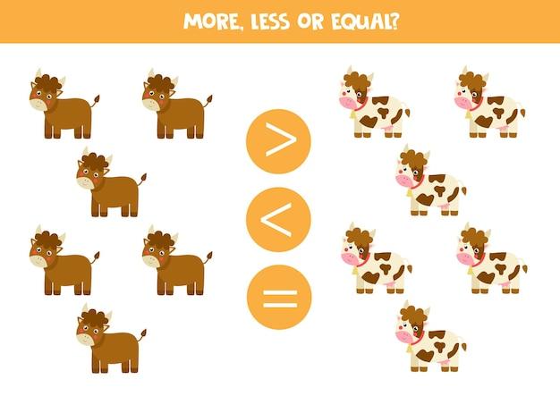 Mais, menos, igual aos touros e vacas dos desenhos animados. jogo de matemática.
