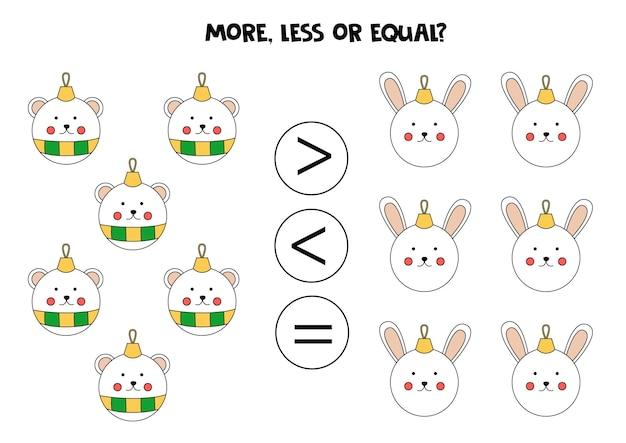 Mais, menos, igual às bolas de natal. comparação matemática.