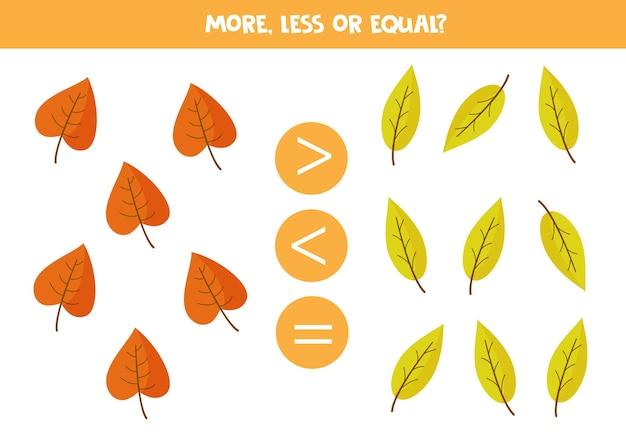 Mais, menos, igual às folhas de outono. jogo educativo de matemática para crianças. folha de trabalho para impressão.